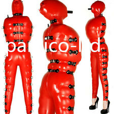 Latex Rubber Bodysuit Red and Black Inflatable Tights Hood Suit Size XS- XXL