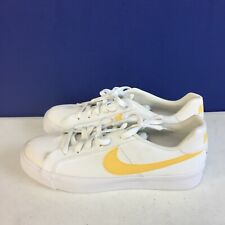 Nike Women's Court Royale Ac Canvas Sneakers White/Yellow CD5405-102 Size 9.5
