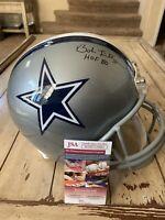 Bob Lilly Autographed/Signed Full Size Helmet JSA COA Dallas Cowboys HOF