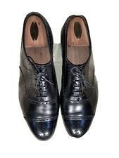EDWARD GREEN X PAUL STUART  Men's Black Brogue Cap Toe Oxford Shoes SZ US 10 E,