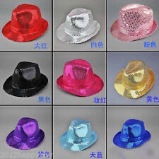 Unisex Sequin Sparkle Trilby Hat Fedora MJ Fancy Dress Hen Party Gangster Jazz