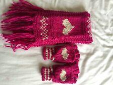Accessorize Angels dark pink, chunky knit scarf + fingerless gloves/mittens set