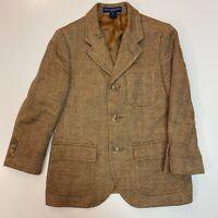 Ralph Lauren Boys Dress Coat Blazer Brown Tan Herringbone Print Pattern size 6