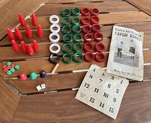 1961 CAROM CARROM CROKINOLE BOARD GAME PIECES DIE MERDEL USA INSTRUCTION BOOK