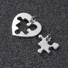 Puzzle Piece Charms Set Silver Heart Puzzle Autism Awareness Puzzle Charm