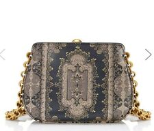 """NWT Authentic $495 Tory Burch """"Mini Shoulder Frame Bag"""" in Morocco color blk gld"""
