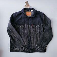 NWT Levis Acid Wash Black Full Zip Mock Neck Denim Trucker Jacket Mens Medium M
