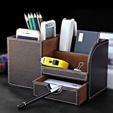 Wooden Leather Multi-functional Desktop Organizer Storage Box Pen Pencil Holder