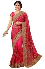 Net latest 2020 Embroidery Saree for Indian Ethnic Wedding Party wear Sari K598