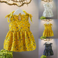 Toddler Baby Kids Girls Sleeveless Ribbons Bow Floral Dress Princess Party Dress