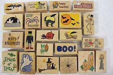 Lot of 22 Canadian Maple Halloween Wood Mounted Rubber Stamps Spiders Cats Bats