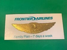 "Vtg Frontier Airlines Future Stewardess Gold Color Badge Sticker 5/8"" x 2 1/4"""