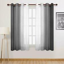 DWCN Black Ombre Sheer Curtains - Faux Linen Gradient Semi Voile Grommet Top Bed