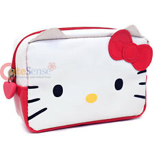 Sanrio Hello Kitty Cosmetic Pouch Pencil Case Wallet Kitty Face Red Bow