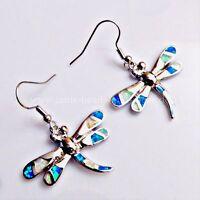 Weiß Blaue Feueropal Ohrhänger Hänger Libelle 925 Silber rhodiniert 39,5 mm