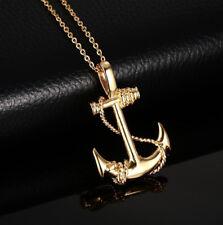 Fashion Pirate Anchor Necklaces Gold Silver Punk Vintage Pendant For Men Women