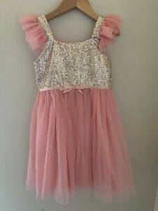 Popatu girls pink glitter gold dress size 6