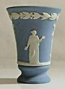 Wedgwood Blue Jasperware Miniature Vase ~ 5.4cm Tall ~ Footed Base ~ 3.8cm Diam.