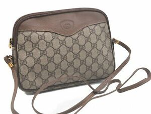 Authentic GUCCI Shoulder Cross Body Bag GG PVC Leather Brown C4219