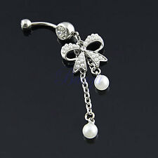 Unique Belly Ring Pearl Bow with 2-Tassel Pearl Dangle Navel Belly Ring JW753 DT