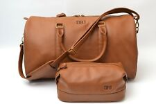 Mens PERSONALISED Brown washbag set duffle gift Holdall faux leather duffle.