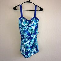 NEW NWT Maxine Of Hollywood Bandeau Sarong Blue Teal White One Piece Swim Suit