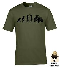 Mens Tractor Evolution T-shirt Funny Farming Trac Driver Gift Claas Massey Tee
