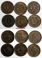 Switzerland Bronze LOT OF 6 COINS 1919-1936 1 Rappen KM# 3.2