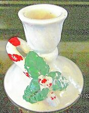 """New ListingChristmas Votive Candle Stick Holder Holly Candy Cane Ceramic 2 1/2"""" Tall"""