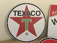 "VINTAGE OLD STLE TEXACO GAS OIL SIGN LARGE 27"" ANTIQUE PORCELAIN LOOK W/GROMMETS"
