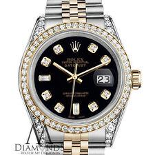 Ladies Black Rolex Steel 18K Gold 36mm Datejust Diamond Jubilee Watch two-tone