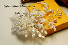 Bridal Headpiece Silver Ivory Lace Hair Comb Wedding Bridesmaid Headpiece