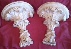 Pair of Two 2 Wall Bracket Shelf Shelves Shabby Paint Set Chic Distressed Style