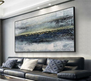 """LL073 Large canvas Hand-painted Abstract gold foil oil painting Unframed 48"""""""