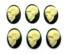 6 Goth Halloween Evil Dead Ivory color on Black Smiling Skull 40mm x 30mm Cameos