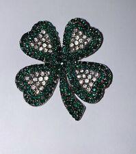 Clover / Shamrock Brooch Pin Vintage Signed Weiss Four Leaf