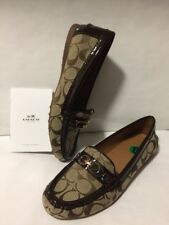 Coach Fortunata Women's 8 Signature Jacquard Patent Leather Khaki Loafers Flats