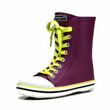 Patternless Women's Lace Up Rubber Boots