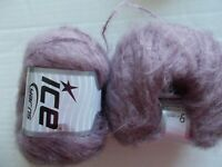 Ice Yarns Piumotto Mohair wool blend yarn, light orchid , lot of 2 (190 yds ea)