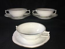 Rosenthal CLASSIC ROSE 2 TWO HANDLED CREAM SOUP BOWLS W/ Underplate White & Gold