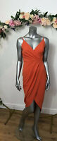 Quiz Wrap Style Dress V Neck Size 10 Wiggle Pencil DZ62 Orange New