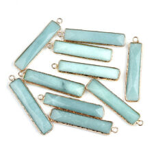 10x Natural Amazonite Stone Pendants Faceted Rectangle Large Charms Loop 46.5mm