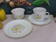 Corelle by Corning - Tea set Cup Saucer Sugar Bowl & B&B Plate in Meadow pattern