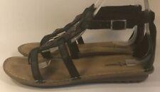 Minnetonka Sz 7 Women's Black Leather Buckle On Gladiator Sandals