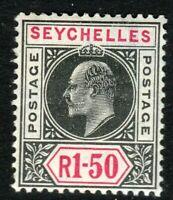 Seychelles 1906 black/carmine 1r.50c multi-crown CA mint SG69