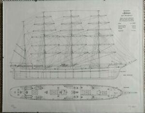 """Bauplan Viermastbark """"Padua"""" Frachtschiff für die Reederei Hamburg im Bilderrahm"""