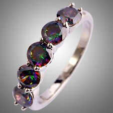 Lovely Rings Great Round Cut Rainbow Sapphire Gems Silver Ring Size L N P R T