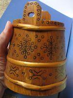 Soviet Latvia USSR Wood Decor TUB PAIL Crock Vat Folk Ethnic Ornament handmade