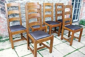 6 Awesome French Solid Oak Ladder Back Top Grain Leather Seat Farmhouse Chairs
