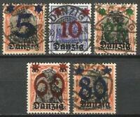 Germany (Weimar Rep.) Danzig 1920 Used - Germania Defins O/P New Values Mi-16-20